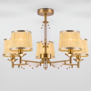Потолочная люстра с абажурами 60081/5 золотая бронза