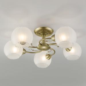 Потолочная люстра со стеклянными плафонами 30146/5 перламутровое золото