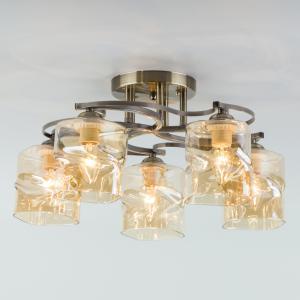 Потолочная люстра со стеклянными плафонами 30158/5 античная бронза 30158/5 античная бронза