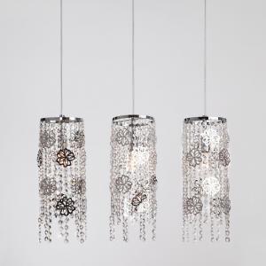 Подвесной светильник с хрусталем 10083/3 хром / прозрачный хрусталь